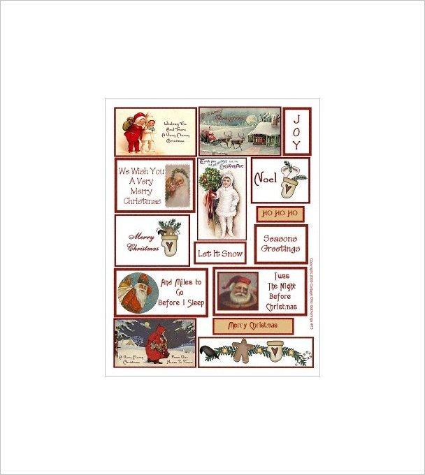 "Vintage Christmas Sticker Sheet Uncut 8.5x11"" #S73"