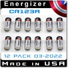 12 Pack Energizer CR123A Lithium 3V Battery EL123A