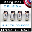 4 Pack Energizer CR123A Lithium 3V Battery EL123A