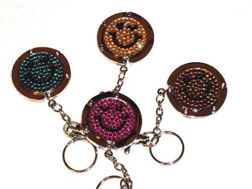 Foldable Crystal happy face handbag hook Purse Hanger & keychain 4pcs Wholesale