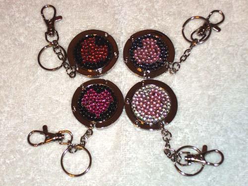 New Foldable Crystal Heart Print Purse Hangbag Hook & keychain 4pcs Holiday Gift