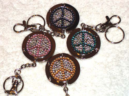 New Foldable Crystal Peace Sign Purse Hangbag Hook & keychain 4pcs Holiday Gift