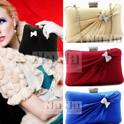 Best Seller Crystal Row Hard Evening Purse Mini handbag Bride Clutch Gift SIL071