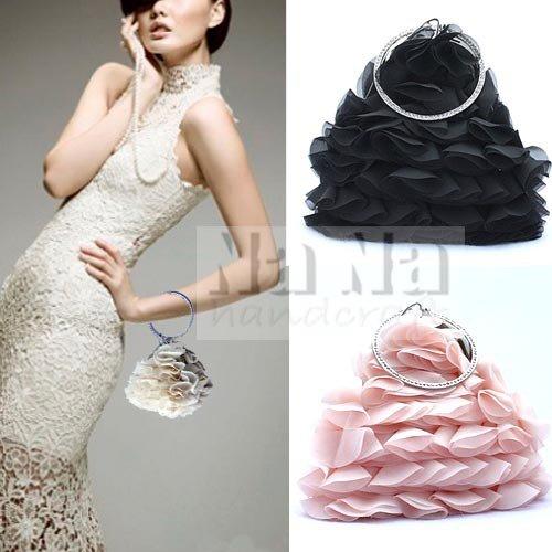 NEW 3D Floral Evening Purse Bride handbag Tote Clutch Wedding Purse Gift SIL007