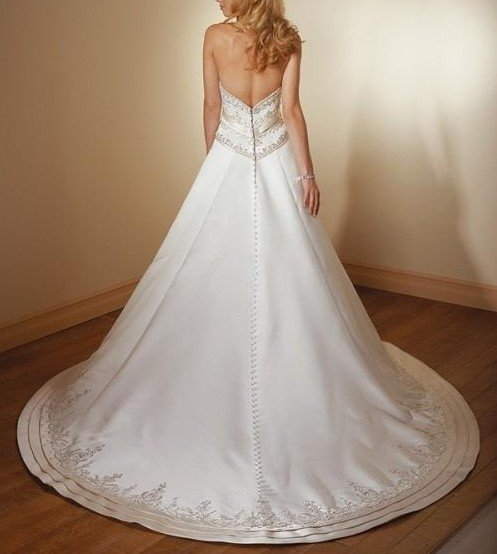 A-line wedding dress/bridal gown thick satin