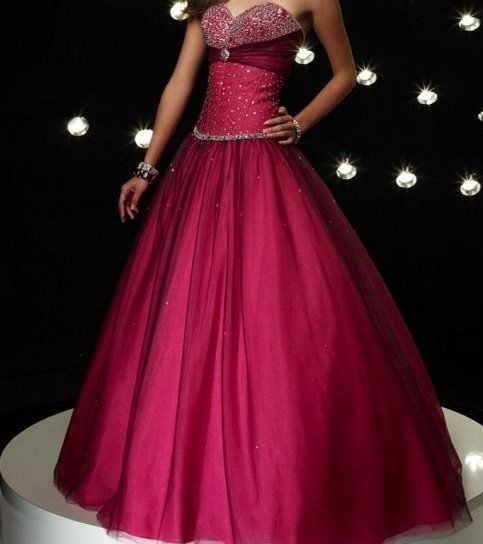 BRIDAL GOWN bridesmaid dress  beaded  strapless *wine red