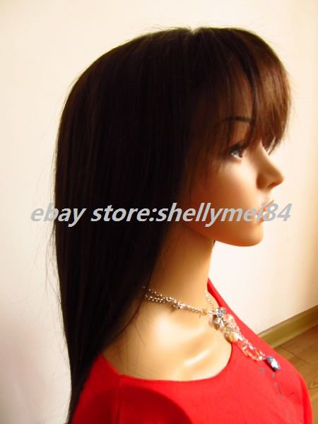 human hair full lace  wigs ,indian remy hair,dark brown,silky straight~~