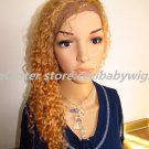 full lace front  wigs afro curly indian remy hair gold blonde~~