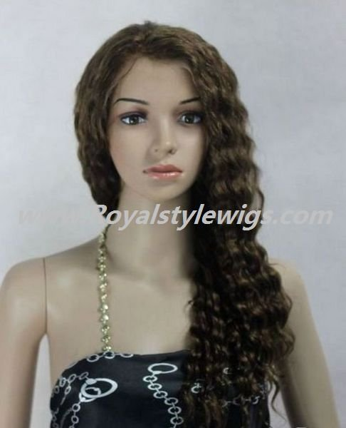 human hair full lace wigs dark blonde wavy  body wave