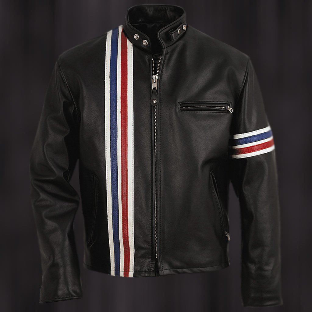 Easy Rider Striped Cowhide Leather Motorcycle Jacket