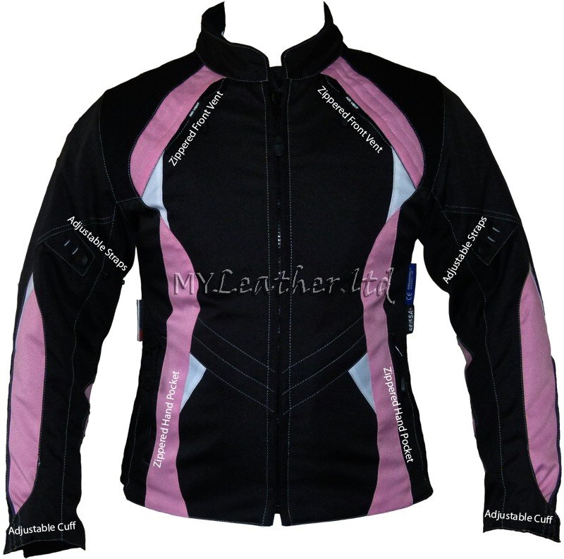 Pink and Black Womens Motorcycle Textile Jacket