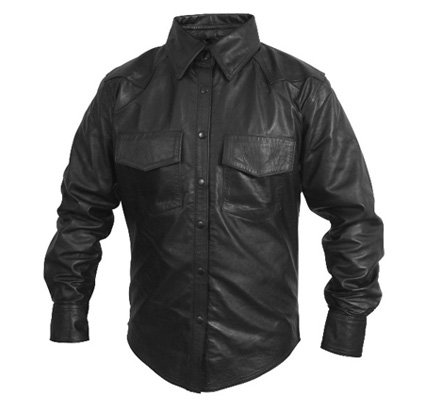 Mens Classic Long Sleeve Leather Fashion Shirt