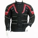 Black and Red Mens Racing MotorCycle Cordura Jacket