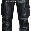 Mens Combat Style Motorcycle Leather Trousers Pants