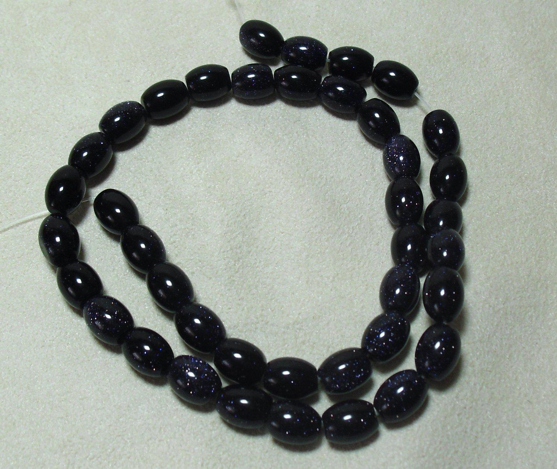 Oval Blue Goldstone Beads