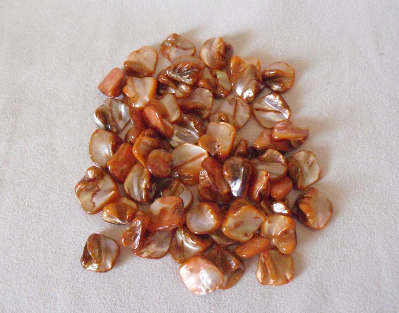 Orange Free-form Shell Beads