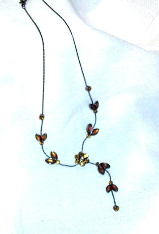 Glass Vine Flower Rhinestone Citrene Necklace