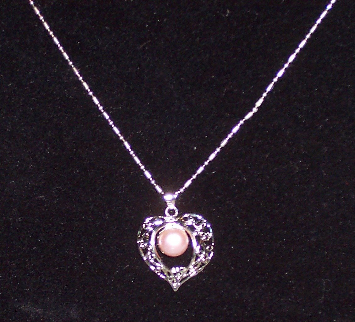 Heart Pink Freshwater Pearl Pendant Necklace
