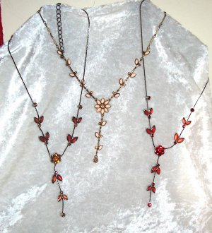 Vine Glass And Rhinestone  Necklace Lot 3 Pcs