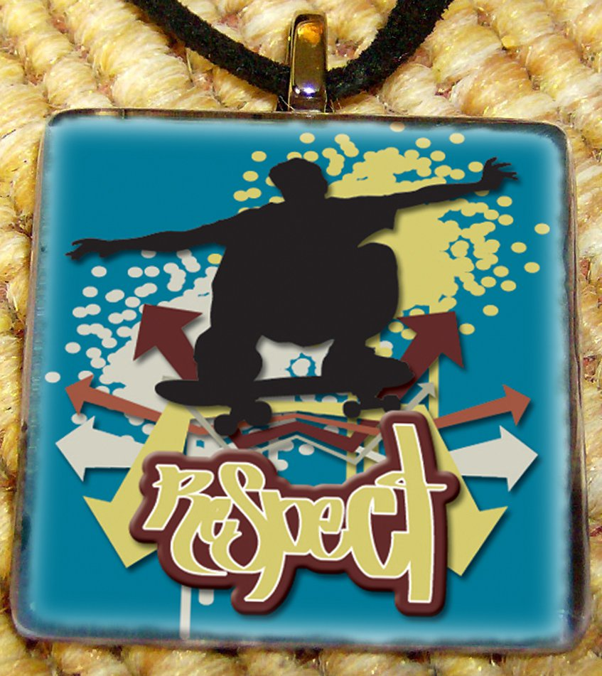 Skateboarding 2 Glass Pendant