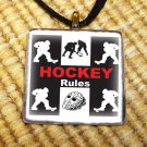 Hockey Rules Glass Pendant