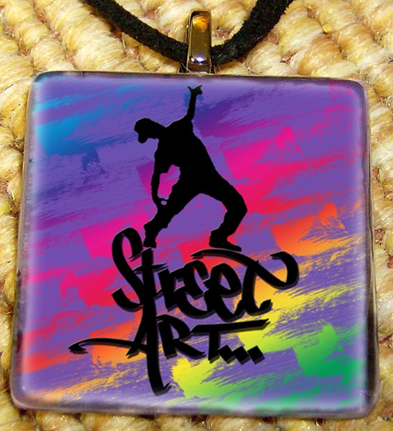 Hip Hop - street art Glass Pendant