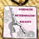 Gymnastics - Determination Glass Pendant