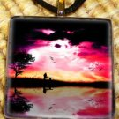 Colorful Sunset Glass Pendant