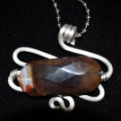 Silver Pendant with Deep Brown Stone