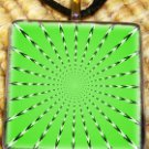 Optical Illusion Green Glass Pendant