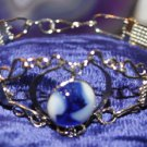 Blue and White semi precious stone Peruvian bracelet