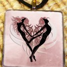 Tribal Heart Couple Glass Pendant