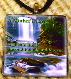 A mother's Love Waterfall Glass Pendant