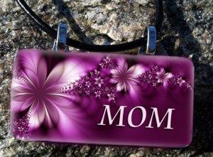 Mom Purple Flower Rectangle Pendant