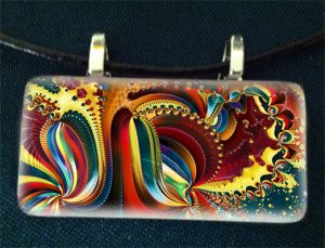 Fractal Rectangle Glass Pendant
