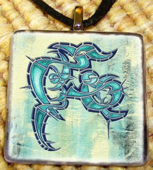 Chaotic Tribal Glass Pendant by Shaman Arts