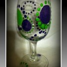 Green and Purple Dots 8oz. wine glass