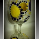 Yellow and Black Dots 8 oz Wine Glass