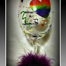 Love Makes a Family Rainbow 16 oz hand painted wine glass