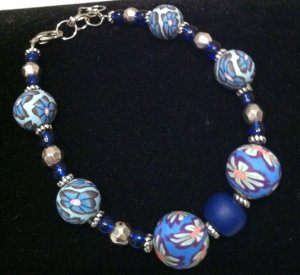 Blue Polymer Clay, Metal & Glass bracelet