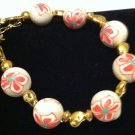Floral cane style polymer clay bead bracelet