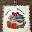 Winter nuthatch with covered bridge wallhanging