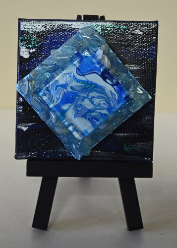 Mini InnergyArt - Black, Navy and Blue with Aquamarine