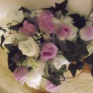 PURPLE AND WHITE SILK LARGE BOUQUET!!