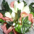PEACHES AND CREAM SILK FLOWER KISSING BALL