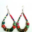 WOOD BEADED MULTICOLORED EARRINGS (NEW)