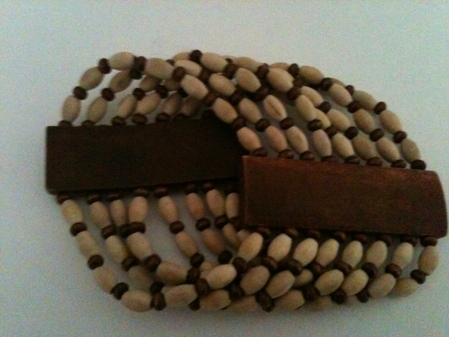 WIDE CUFF WOOD BEAD TWO-COLOR BRACELET (NEW)