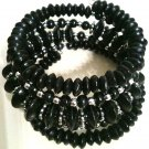 BLACK & SILVER BEAD STRETCH BRACELET (NEW)