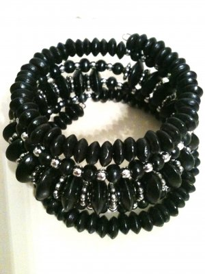BLACK &amp; SILVER BEAD STRETCH BRACELET (NEW)