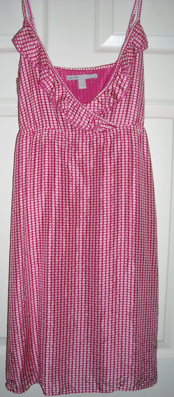 OLD NAVY HOT PINK & WHITE SHORT SUNDRESS SIZE XS (NEW)